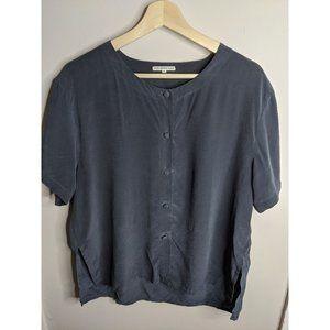 Vintage | Slate grey silk blouse